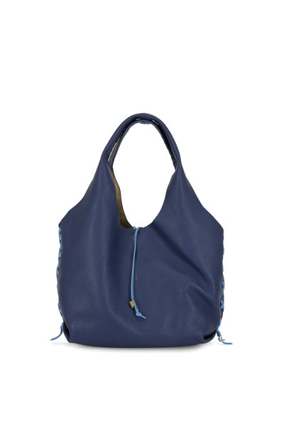 Henry Beguelin - Canotta Navy Blue Whip-Stitch Detail Hobo Bag