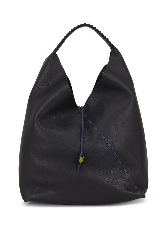 Henry Beguelin Cross Manico Black Leather Large Hobo Bag