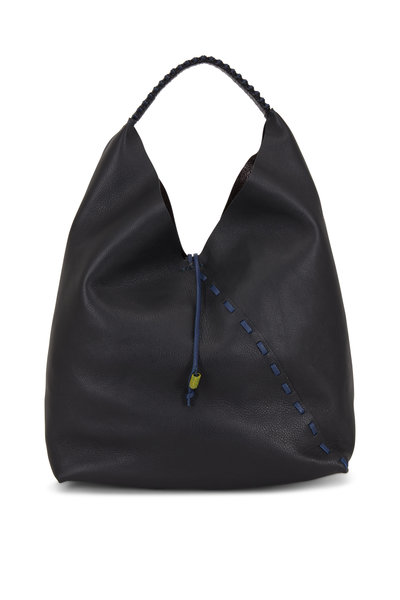Henry Beguelin - Cross Manico Black Leather Large Hobo Bag