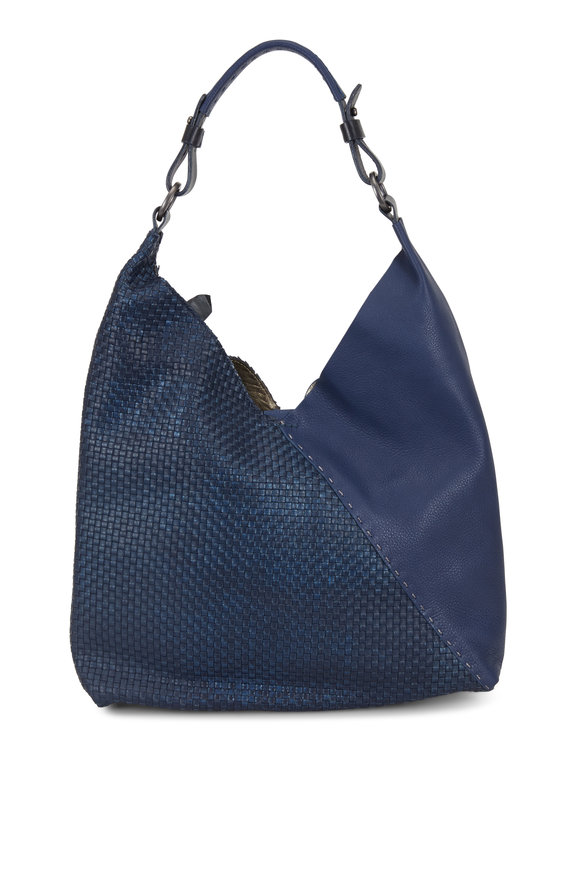 Henry Beguelin Cross Navy Intrecciato & Smooth Leather Hobo Bag