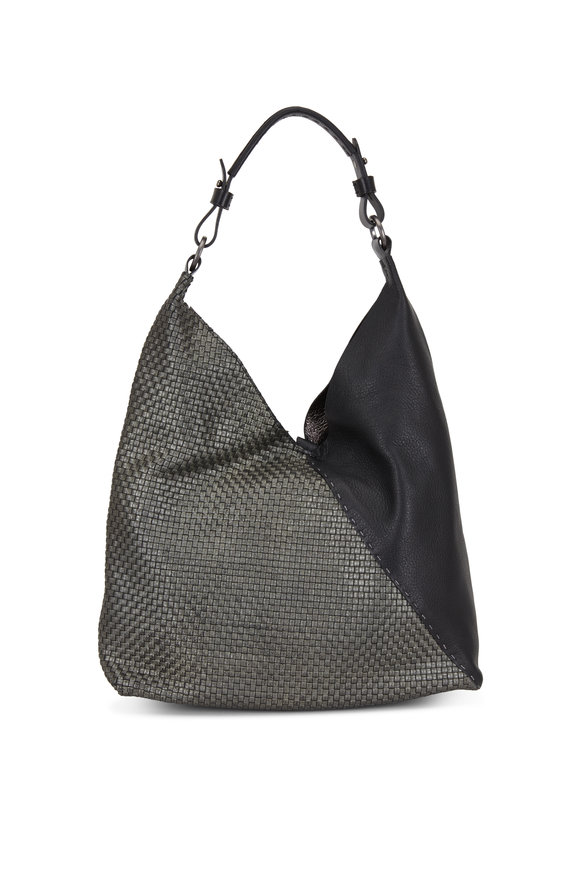 Henry Beguelin Cross Black Intrecciato & Smooth Leather Hobo Bag