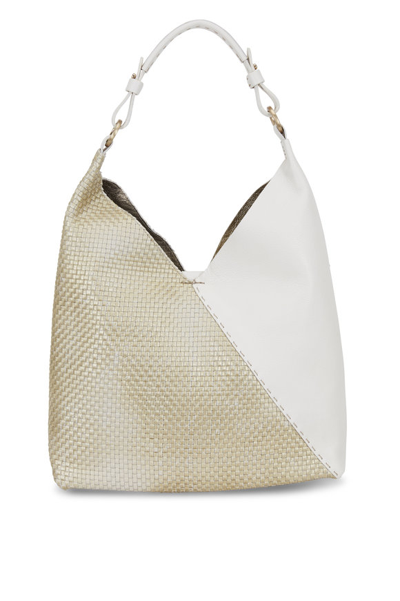 Henry Beguelin Cross Ivory Intrecciato & Smooth Leather Hobo Bag