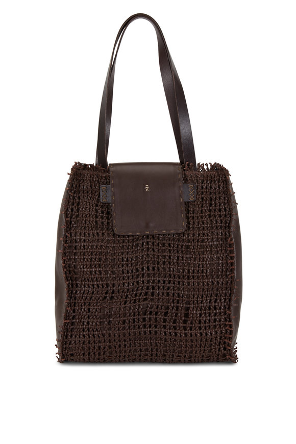Henry Beguelin Mimosa Brown Woven Leather Convertible Bag