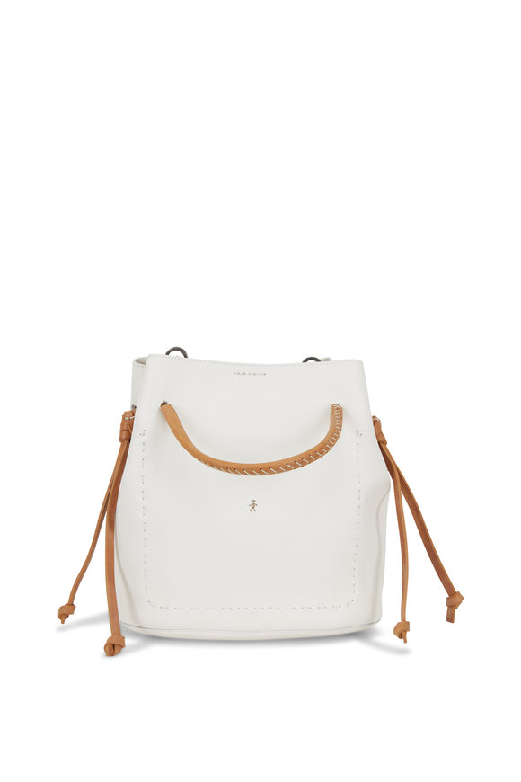 Henry Beguelin Samoa White & Cognac Leather Small Bucket Bag