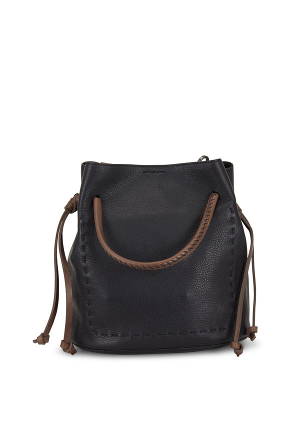 Henry Beguelin Samoa Black & Brown Leather Small Bucket Bag