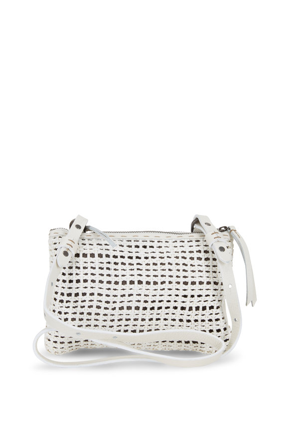 Henry Beguelin Zedda White Woven & Smooth Leather Crossbody