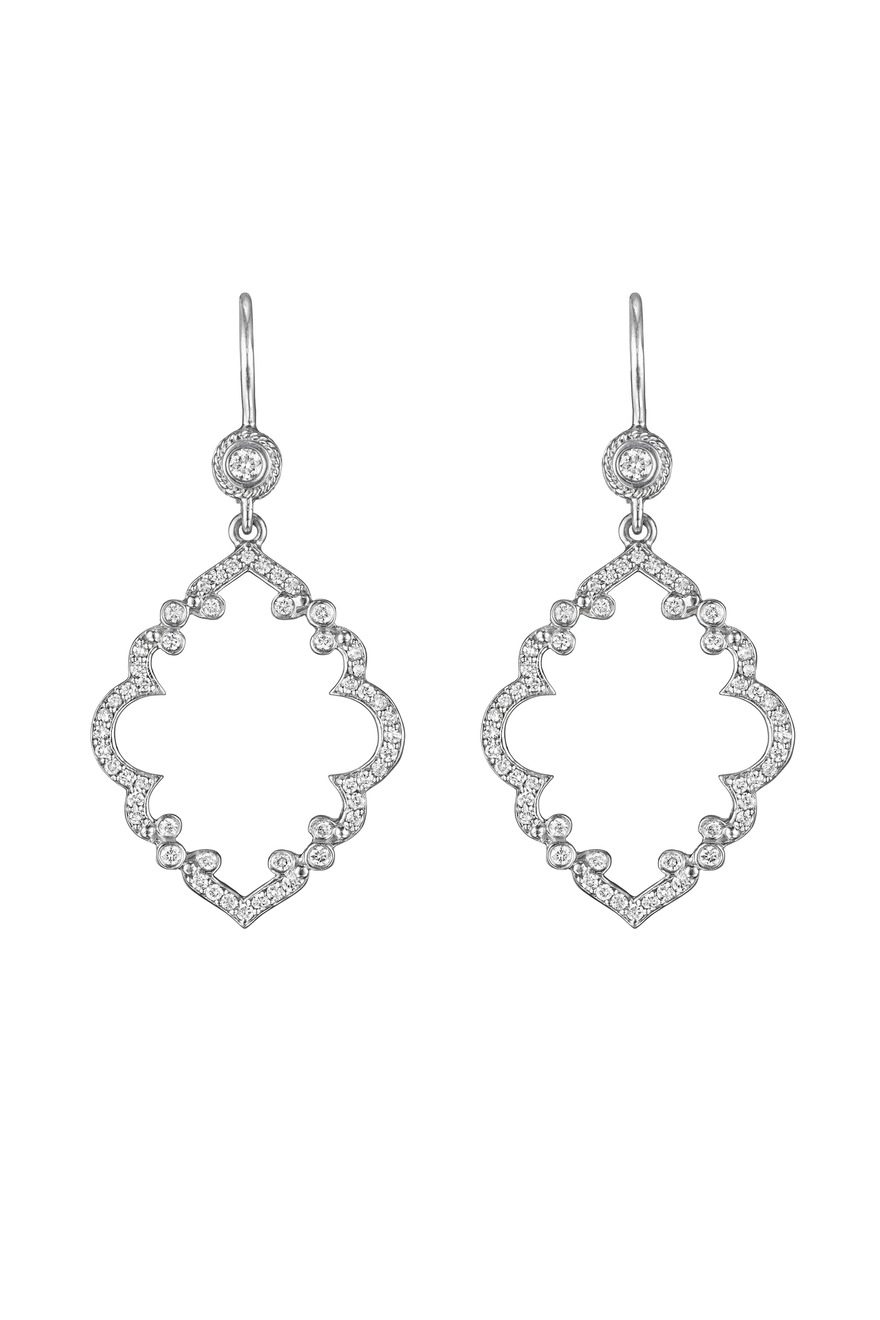 White Gold Arabeque Medium Diamond Earrings