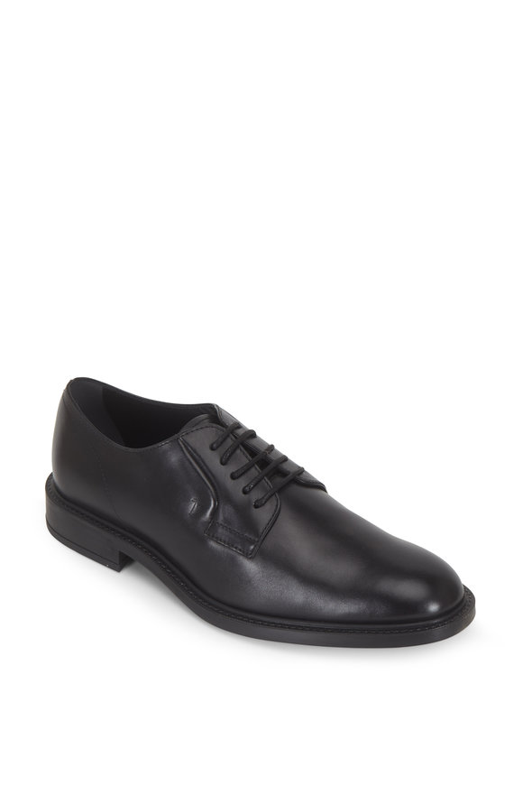 Tod's Gomma Black Leather Derby Shoe