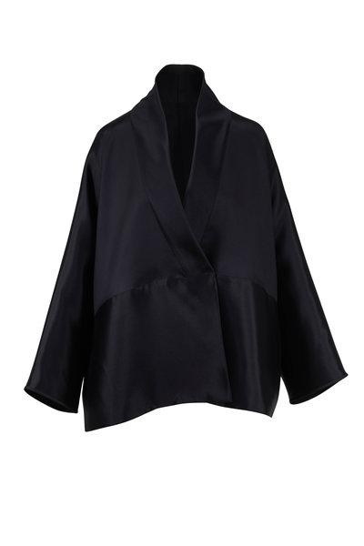 The Row - Pernia Black Silk Wrap Jacket