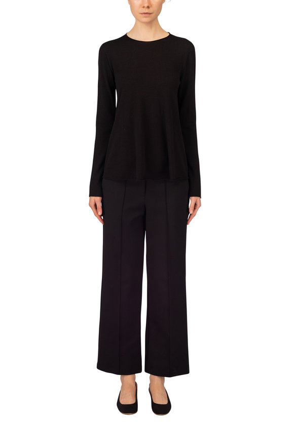The Row Ane Black Wool Wide Leg Cuffed Pant