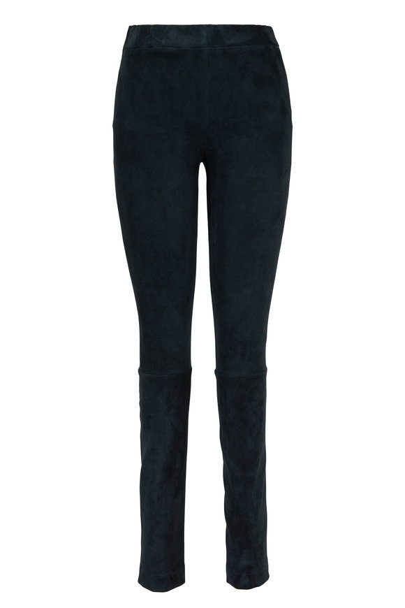 The Row Dark Peacock Green Suede Moto Pant