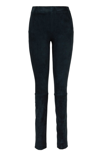 The Row - Dark Peacock Green Suede Moto Pant