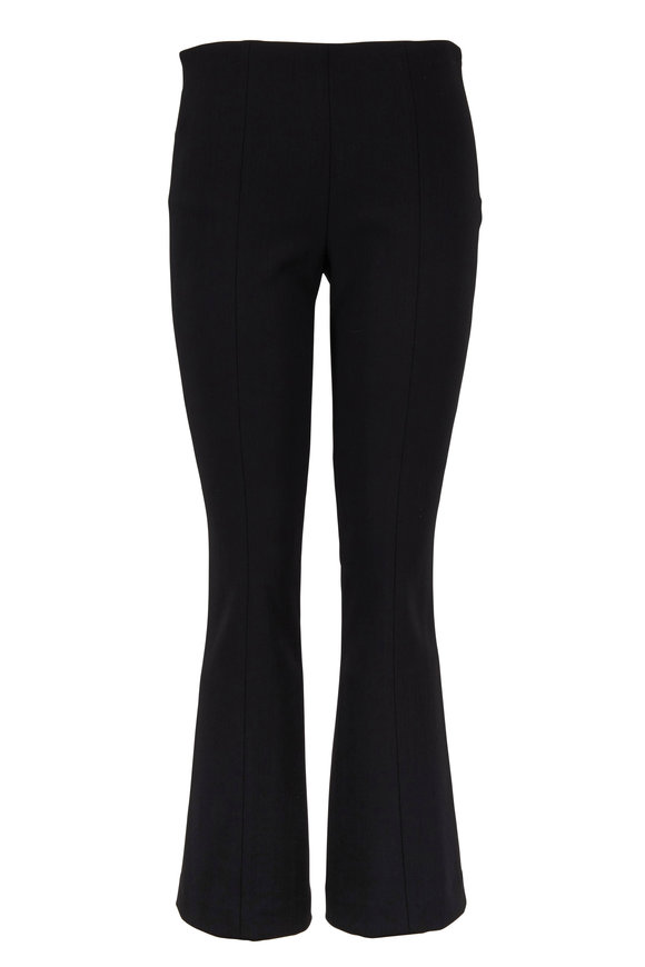 The Row Beca Black Stretch Wool Kick Flare Pant