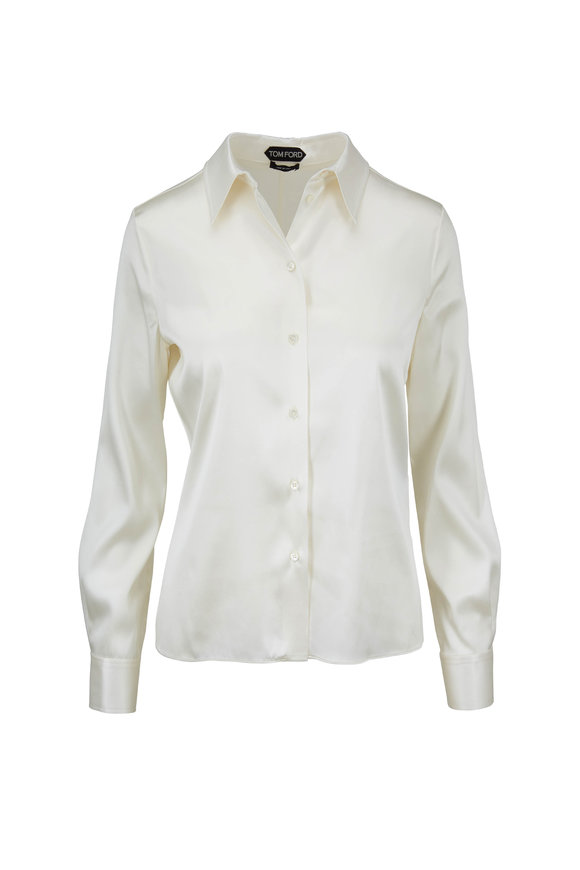 Tom Ford Ivory Stretch Silk Charmeuse Blouse