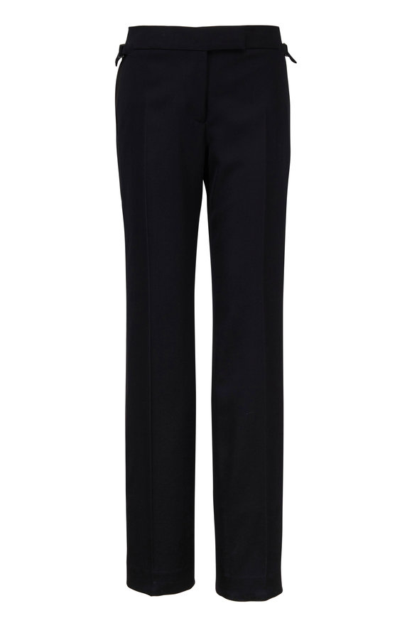 Tom Ford Black Wool With Satin Stripe Tux Pant