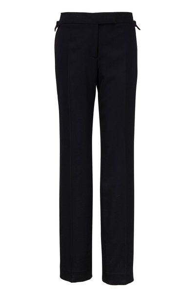 Tom Ford - Black Wool With Satin Stripe Tux Pant