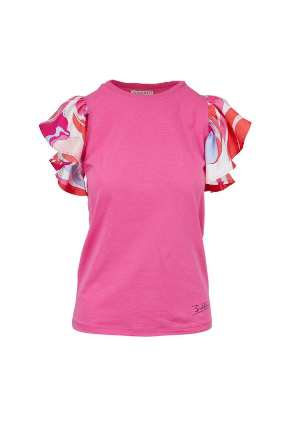 Pucci Pink Printed Ruffle Sleeve T-Shirt