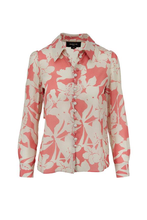 Paule Ka Coral & Ivory Silk Floral Printed Blouse
