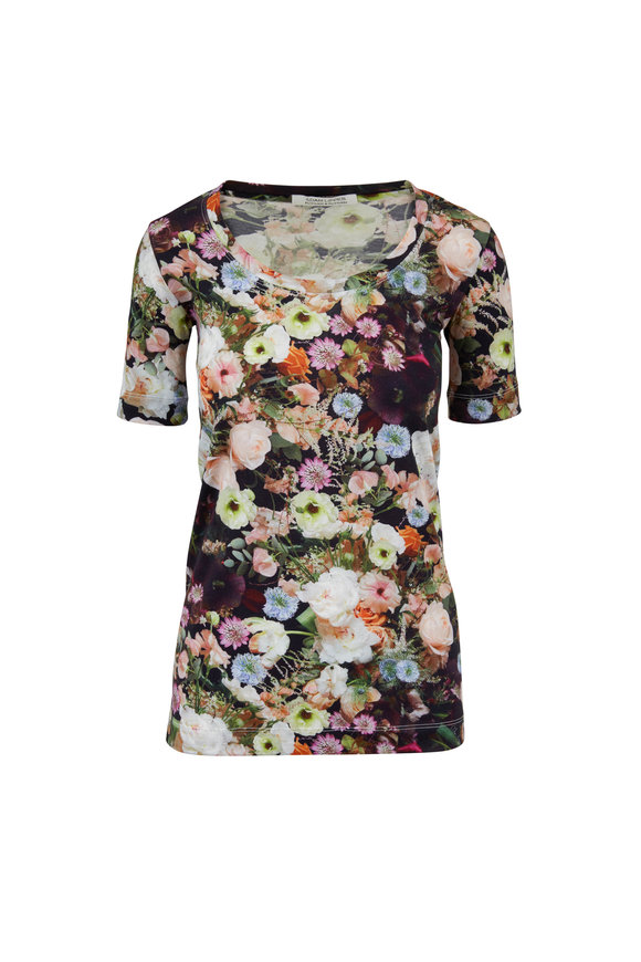 Adam Lippes Black Floral Jersey Scoopneck T-Shirt