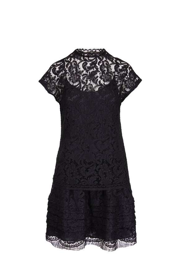 Adam Lippes Black Corded Lace Mockneck Dress