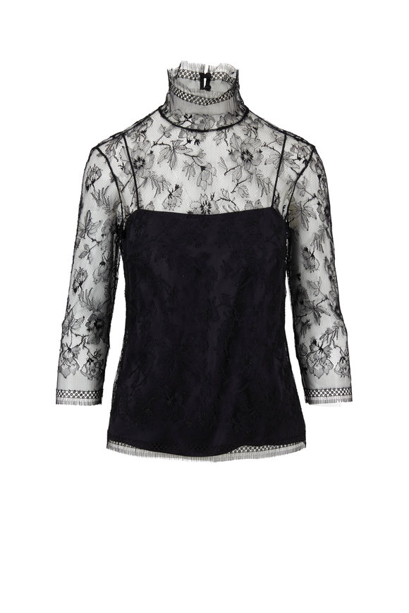 Adam Lippes Black Chantilly Lace Three-Quarter Sleeve Top