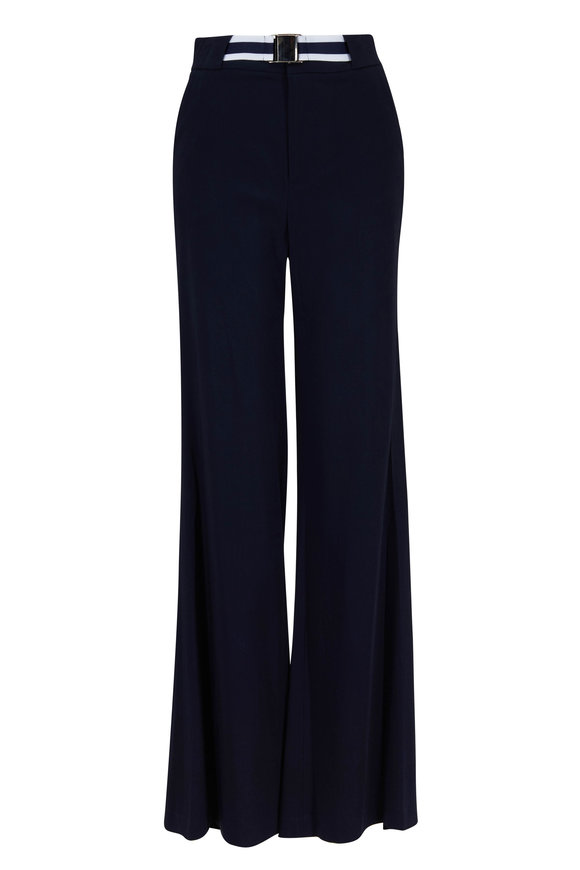 Veronica Beard Maldon Navy Blue Jersey High-Rise Pant