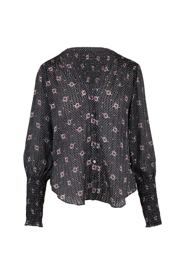 Veronica Beard Maree Black Printed Silk Top