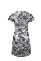 Michael Kors Collection - Concrete & Silver Embroidered Flower Shift Dress