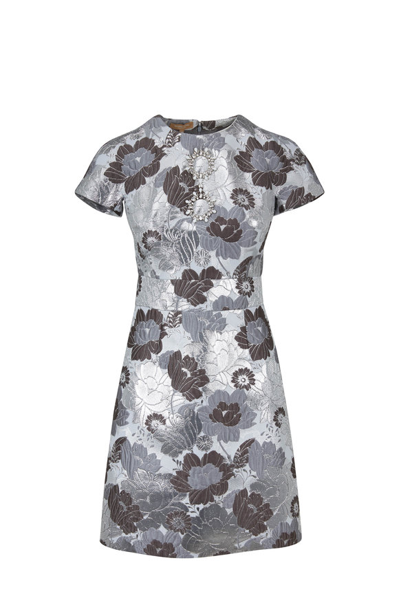 Michael Kors Collection Concrete & Silver Embroidered Flower Shift Dress