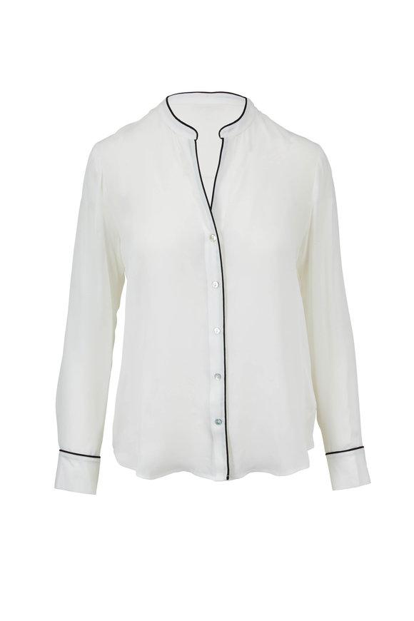L'Agence Tegan Ivory & Black Silk Blouse