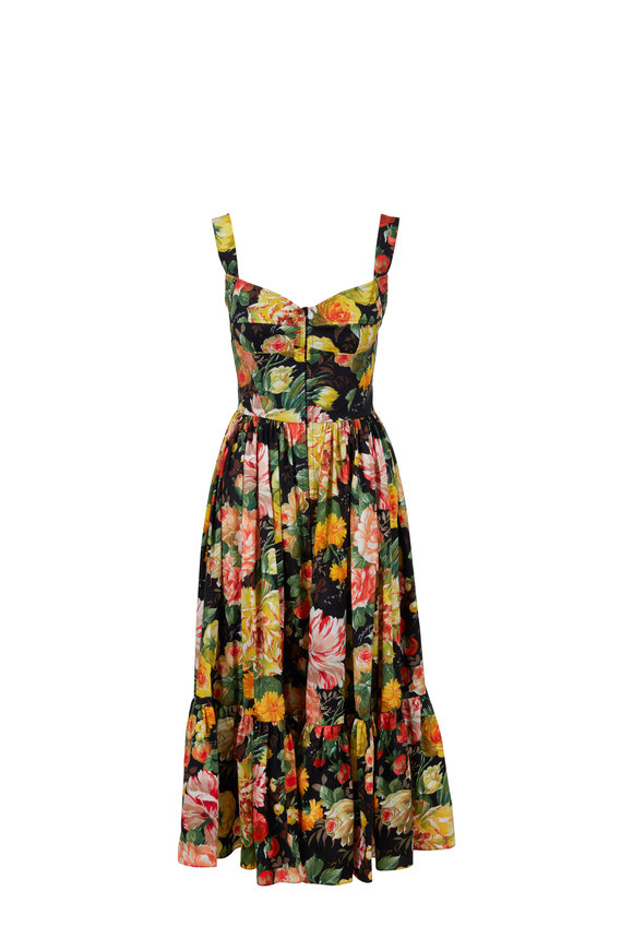 Dolce & Gabbana Black & Yellow Floral Printed Fit-To-Flare Dress