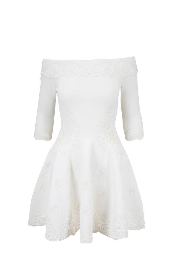 Alexander McQueen Ivory Seashell Jacquard Off-The-Shoulder Dress