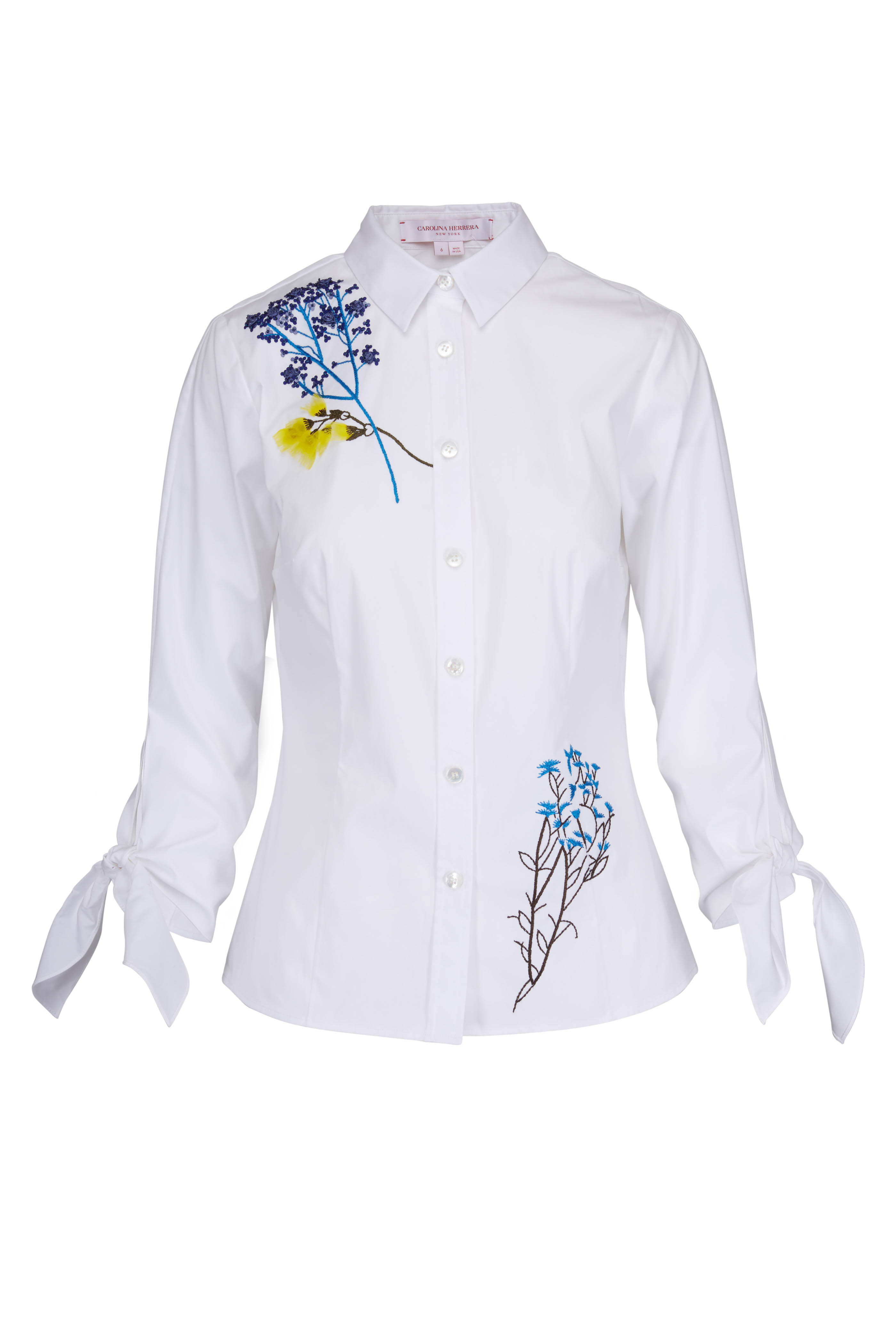 3c4a72890aae3d Carolina Herrera - White Embroidered Flowers Blouse   Mitchell Stores
