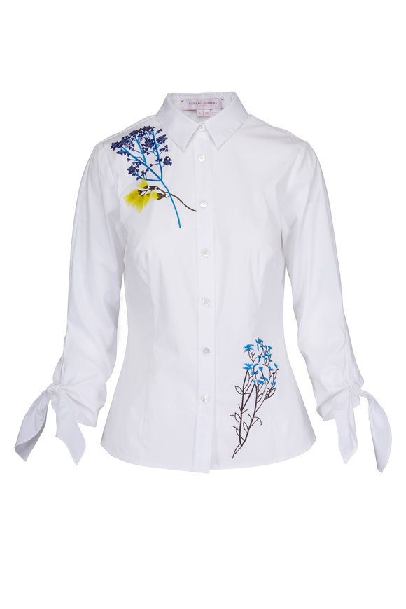 Carolina Herrera White Embroidered Flowers Blouse