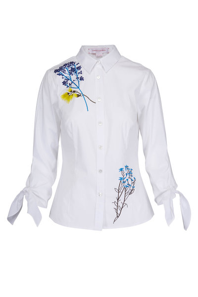 Carolina Herrera - White Embroidered Flowers Blouse