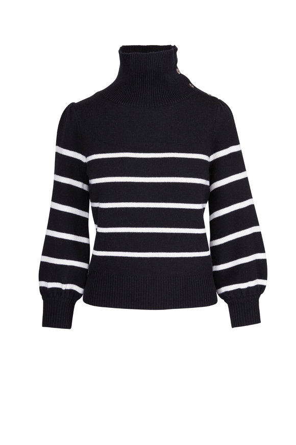 CO Collection Black & White Wool & Cashmere Striped Sweater