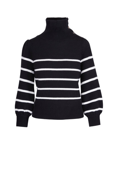 CO Collection - Black & White Wool & Cashmere Striped Sweater