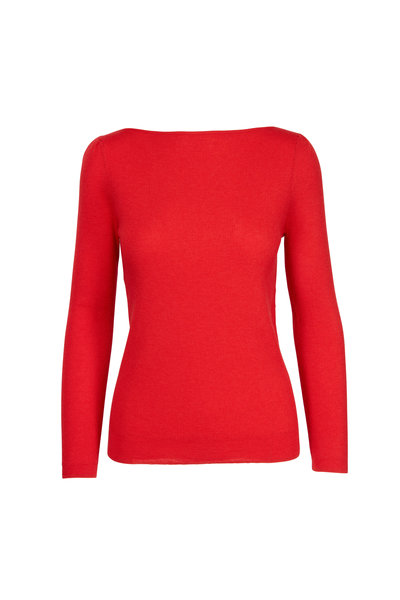 CO Collection - Vermilion Cashmere Bateau Neck Sweater