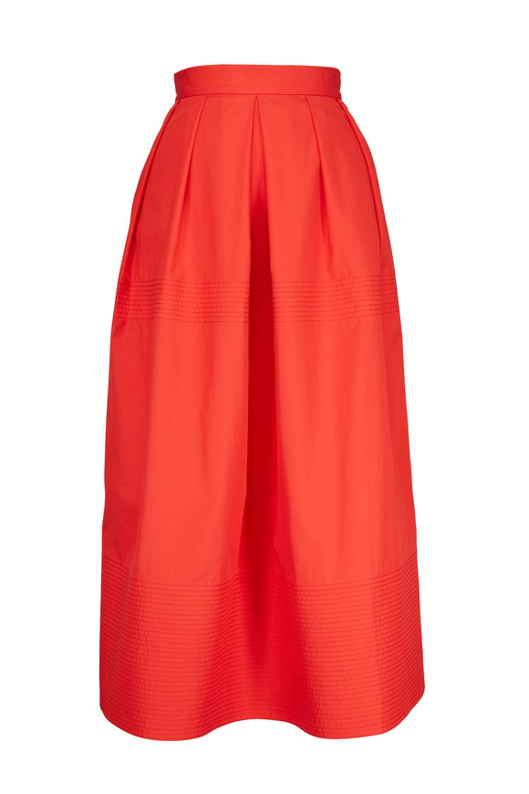 CO Collection Vermilion Pleated Midi Skirt