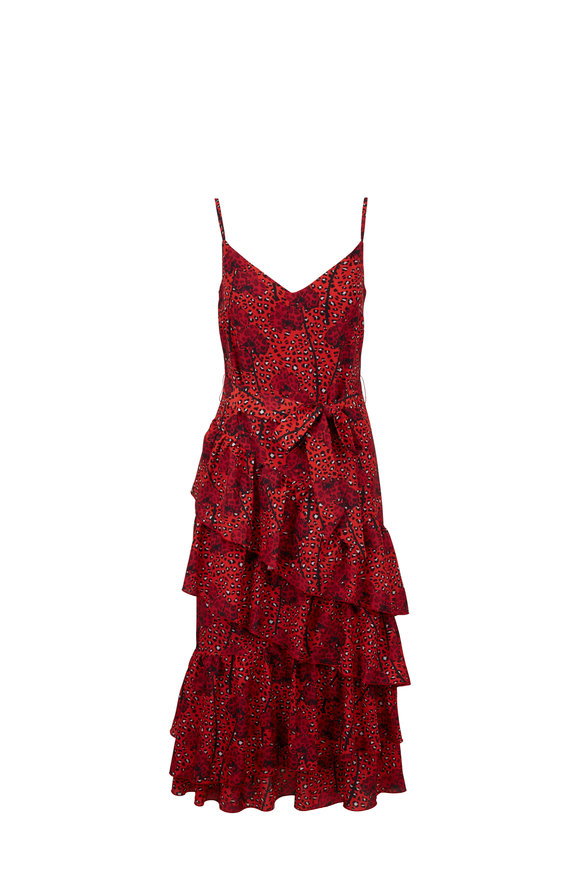 Borgo De Nor Coco Red Leopard & Orchid Printed Crêpe Dress
