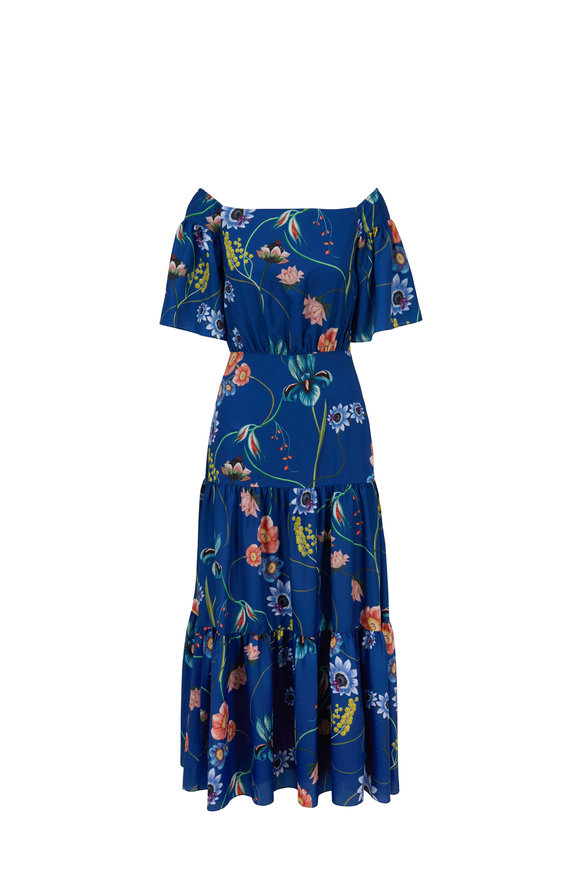 Borgo De Nor Emelia Blue Vintage Flowers Off-The-Shoulder Dress