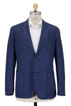 Ermenegildo Zegna - Navy Blue Check Wool & Silk Sportcoat