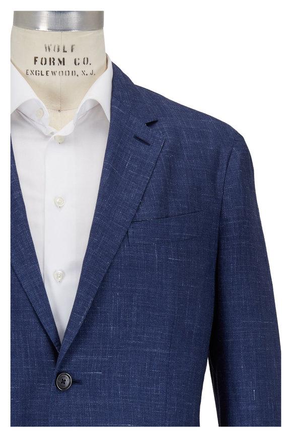 Ermenegildo Zegna Navy Blue Check Wool & Silk Sportcoat