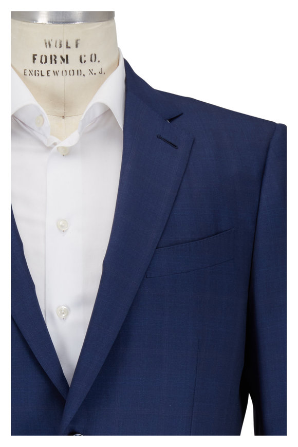 Ermenegildo Zegna Medium Blue Tonal Windowpane Wool & Silk Suit