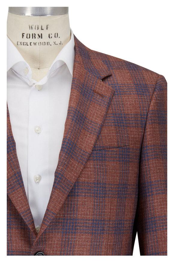Canali Rust & Blue Plaid Silk & Cashmere Sportcoat