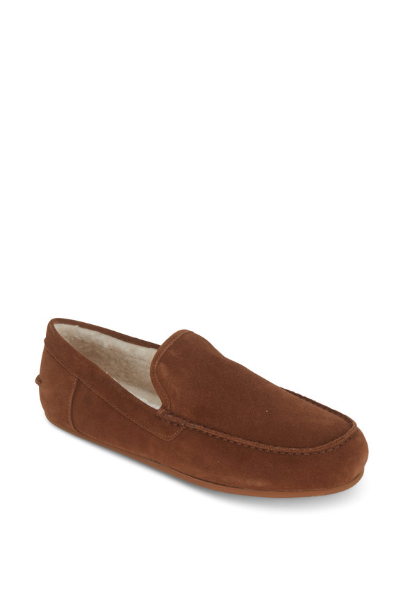 Vince Gino Brown Suede Shearling Lined Slipper