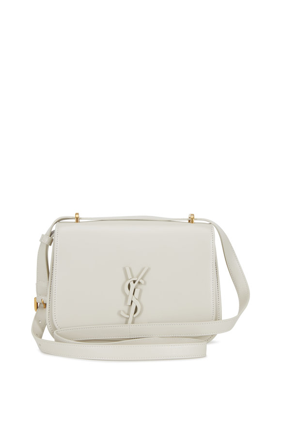 Saint Laurent Spontini Off-White Leather Small Satchel