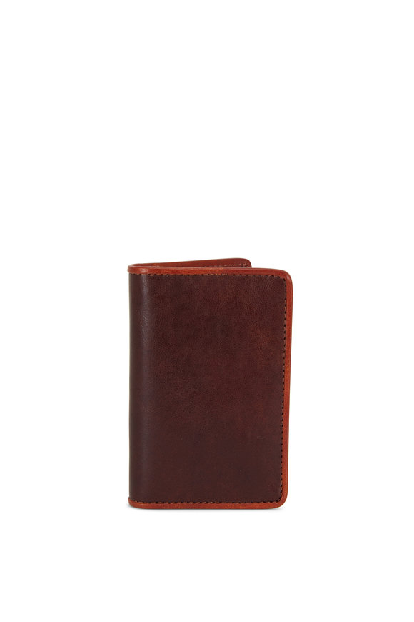 Bosca Dark Brown & Amber Leather Calling Card Case