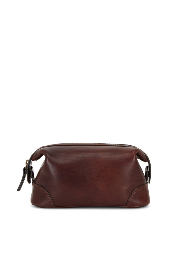 Bosca Small Dark Brown Leather Dopp Kit