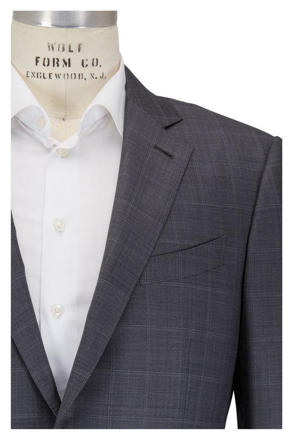 Ermenegildo Zegna Gray Tonal Windowpane Wool & Silk Suit